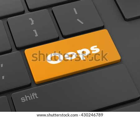 Text Oops button, 3d rendering