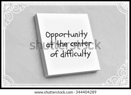 Text opportunity at the center of difficulty on the short note texture background - stock photo