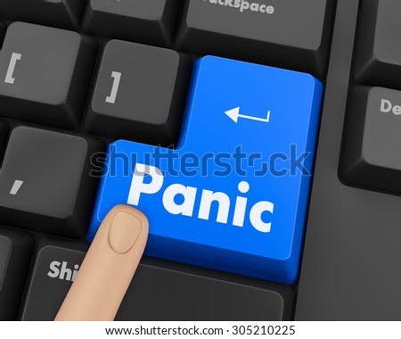 Text panic button 3d render - stock photo