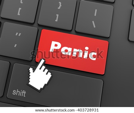 Text panic button, 3d rendering - stock photo