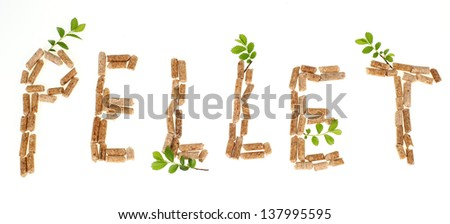 Text pellet made by wood pellets on white background - stock photo