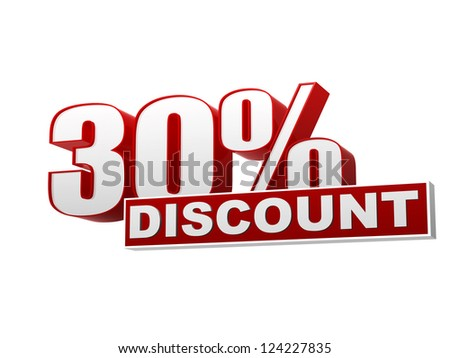 text 30 percentages discount 3d red white banner, letters and block, business concept - stock photo