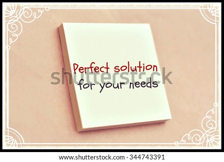 Text perfect solution for your needs on the short note texture background - stock photo
