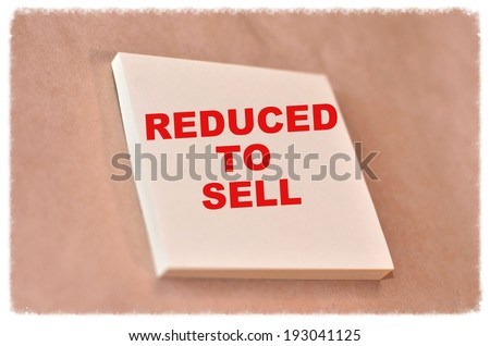 Text reduced to sell on the short note texture background