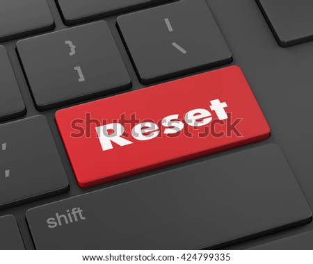 Text reset button, 3d rendering