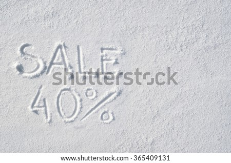 Text SALE 40 % hand written on snow background. Horizontal postcard template. Space for copy, lettering. - stock photo