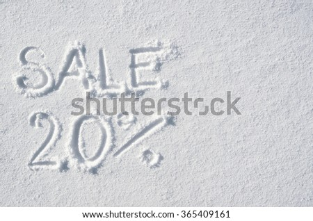 Text SALE 20% hand written on snow background. Horizontal postcard template. Space for copy, lettering. - stock photo
