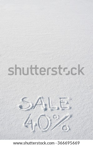Text SALE 40% hand written on snow background. Vertical postcard template. Space for copy, lettering. - stock photo