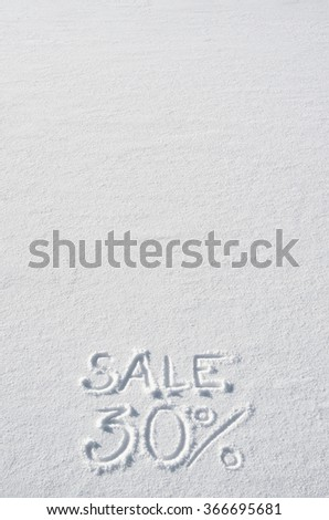 Text SALE 30% hand written on snow background. Vertical postcard template. Space for copy, lettering. - stock photo