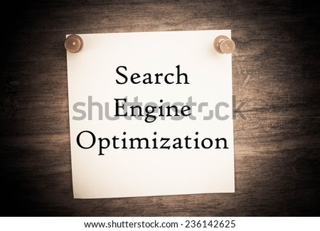 Text search engine optimization on note paper - stock photo
