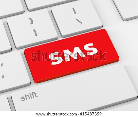 Text sms button, 3d rendering - stock photo