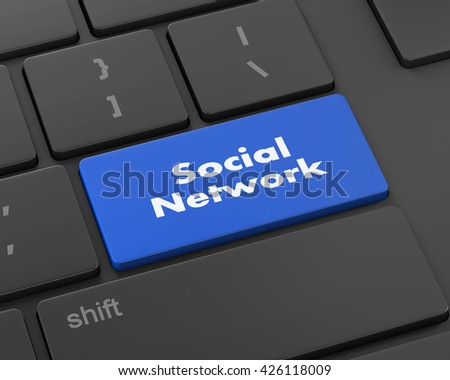 Text social network button, 3d rendering - stock photo