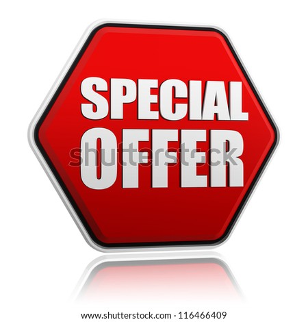 text special offer in 3d red hexagon banner like button, business concept - stock photo
