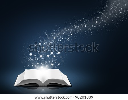 text, star and snow on open white book, blue background