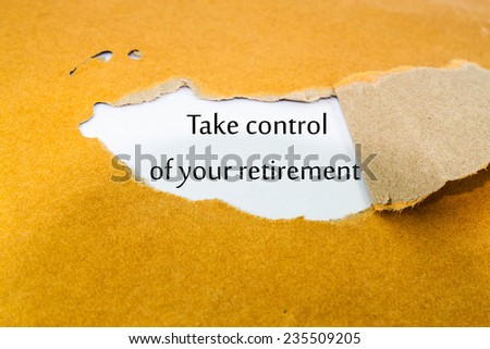 Text take control of your retirement on brown  envelope  - stock photo