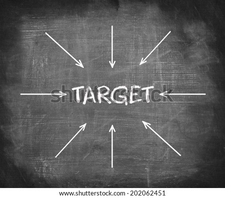 "Text "" TARGET "" on blackboard with many arrows pointing in it.  - stock photo"
