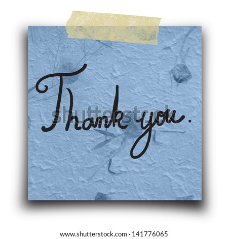 Text Thank you on the Hand made paper from Thailand - stock photo
