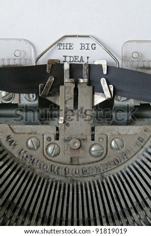 text 'THE BIG IDEA' written in an old typewriter, vertical composition - stock photo