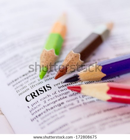 Text the word CRISIS - stock photo
