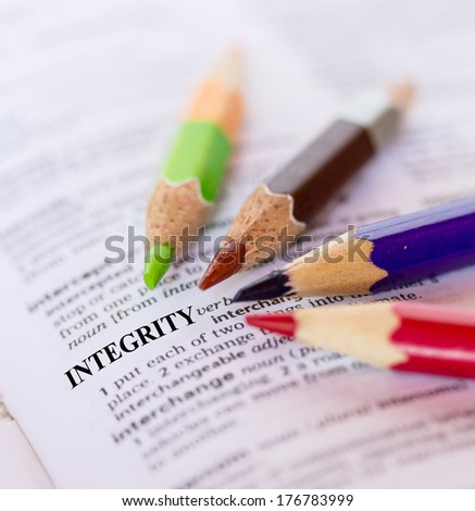 Text the word  INTEGRITY - stock photo