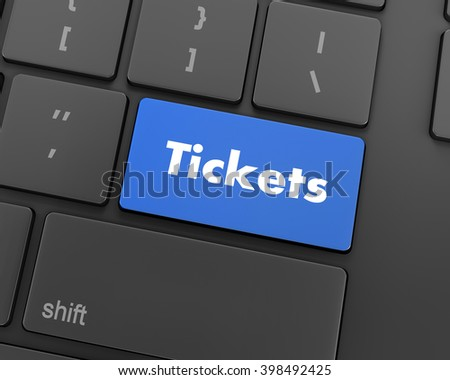 Text tickets button, 3d rendering
