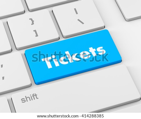 Text Tickets button, 3d rendering - stock photo