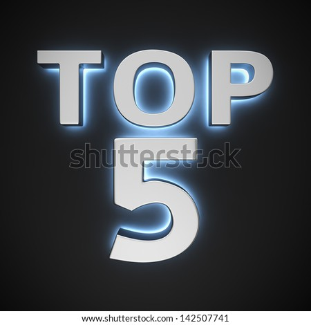 "Text ""Top 5"" with backlight effect on the black background - stock photo"