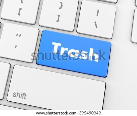 Text Trash button 3d render