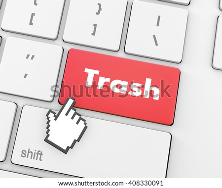 Text Trash button, 3d rendering