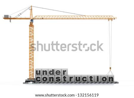 "Text ""under construction"". 3d render - stock photo"