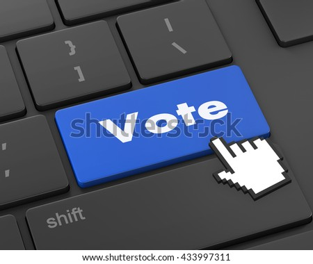 Text vote button, 3d rendering - stock photo