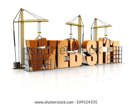 Text web site with cranes, 3d - stock photo