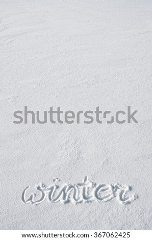 Text winter hand written on snow background. Vertical postcard template. Space for text, copy, lettering. - stock photo