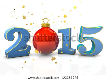 "Text ""2015"" with christmas bauble and stars on the white background."