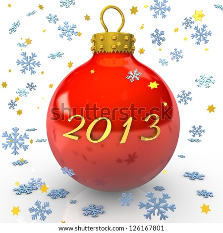 "Text ""2013"" with christmas bauble, snowflakes and stars on the white background."