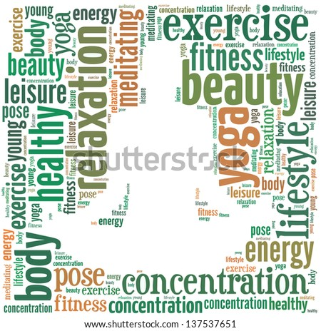 text/word cloud/word collage composed in the shape of a man doing yoga meditation pose (man fitness series) - stock photo