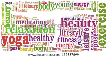 text/word cloud/word collage composed in the shape of a woman doing yoga meditation pose (woman fitness series) - stock photo