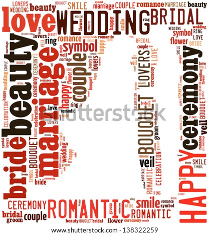 text/word cloud/word collage composed in the shape of bride and groom holding hands