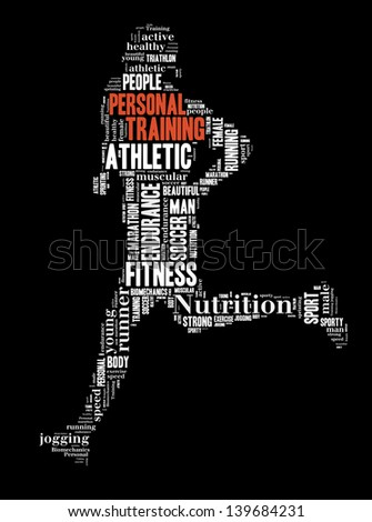 text/word cloud/word collage of personal training composed in the shape of a person running (fitness series) - stock photo