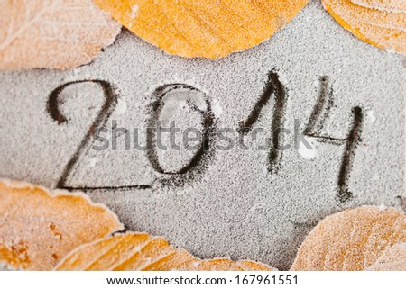 Text 2014 written on a frozen soil surface surrounded by frozen leafs on a cold morning. - stock photo