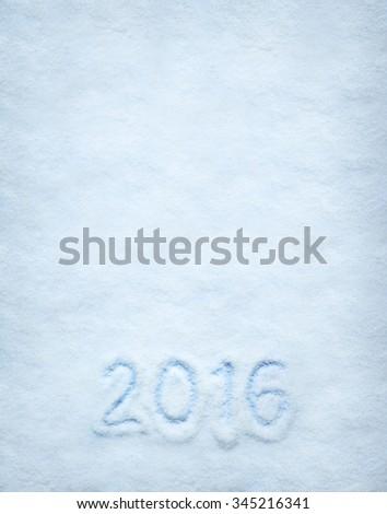 Text 2016 written on snow. Vertical postcard with space for text or copy - stock photo