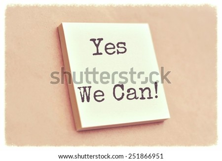 Text yes we can on the short note texture background - stock photo