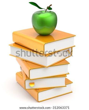 Textbook books stack yellow studying literature gold golden green apple education reading learning school college knowledge idea icon concept. 3d render isolated on white - stock photo