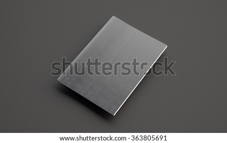 Textbook with leather cover on the gray background. 3d render - stock photo