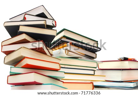 textbooks background - stock photo