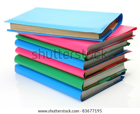Textbooks on a white background