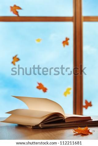 Textbooks on window background - stock photo