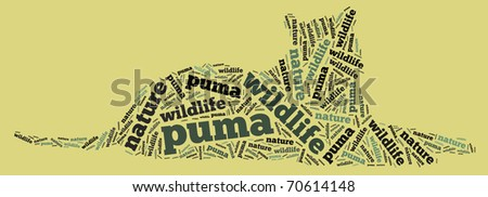 Textcloud: silhouette of puma - stock photo