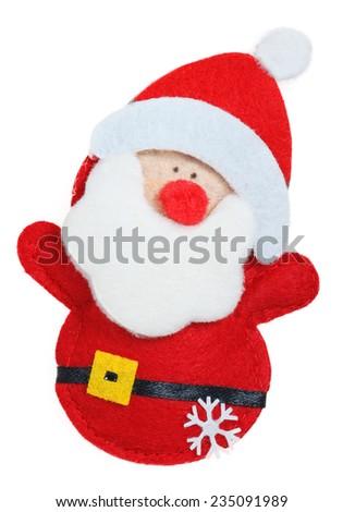 Textile Christmas Santa Claus isolated on white background - stock photo