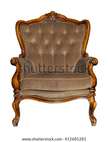 Textile classic brown chair isolated on white background